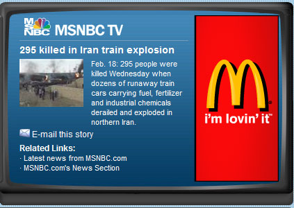 MacDonalds Lovin It Ad next to news story of train explosions many dead